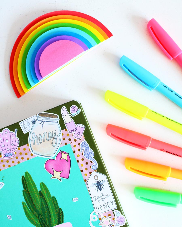 stationery pens notebook