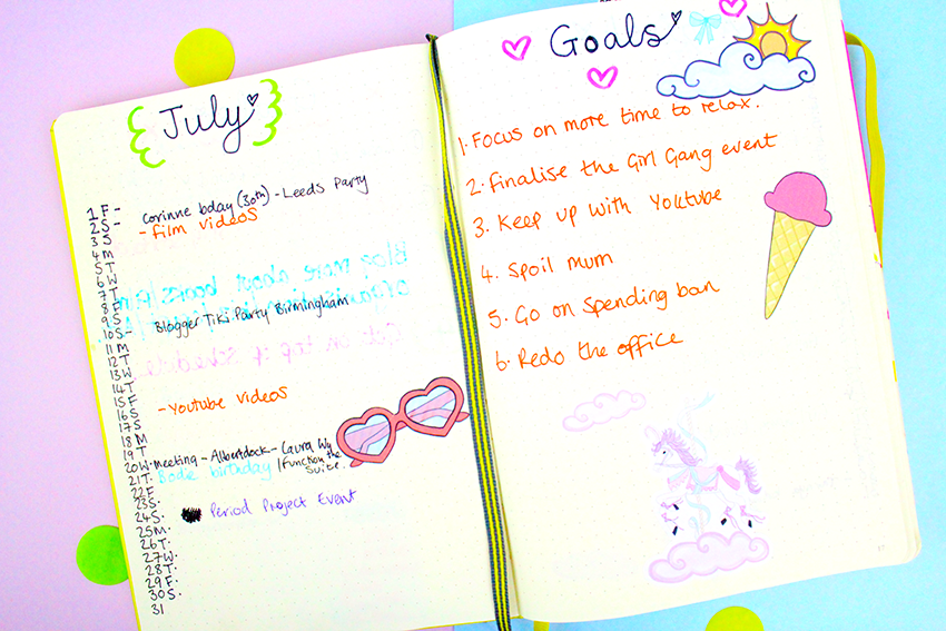bullet journal monthly plan
